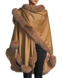 Sofia Cashmere Fox Fur-trimmed Cashmere U-cape - Blue