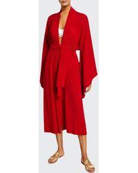 Norma Kamali Mid-calf Belted Kimono Robe - Red
