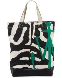 JW Anderson Animal-print Twill Logo Tote Bag - Black