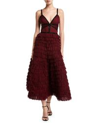 J. Mendel - V-neck Tiered Ruffle Gown - Lyst