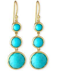 Ippolita 18k Lollipop® Three-stone Drop Earrings In Turquoise - Blue