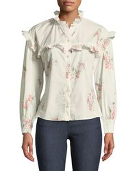 Rebecca Taylor - Maia Long-sleeve Floral-print Cotton Top W/ Ruffled Trim - Lyst