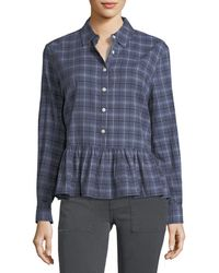 The Great - The Ruffle Long-sleeve Plaid Oxford Shirt - Lyst