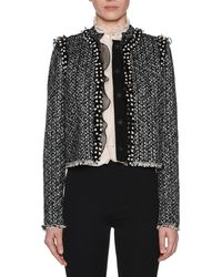 Giambattista Valli - Button-front Tweed Jacket With Pearlescent & Organza Trim - Lyst