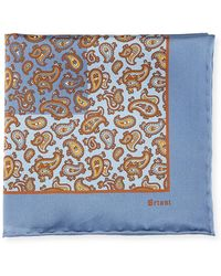 Brioni - Paisley Pine Silk Pocket Square - Lyst