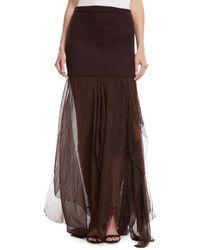 Urban Zen Elastic Waist Jersey Tulle Skirt - Brown