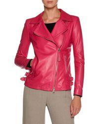 Giorgio Armani - Asymmetric-zip Lamb Leather Moto Jacket - Lyst