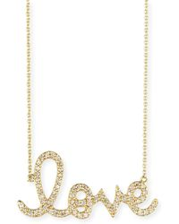 Sydney Evan - Large 14k Yellow Gold & Diamond Love Necklace - Lyst