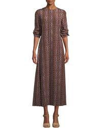 Lafayette 148 New York - Coleen Long-sleeve Belted A-line Kilim-print Silk Dress - Lyst