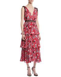 Self-Portrait - Tiered Floral Crepe De Chine Midi Dress - Lyst
