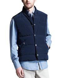 Brunello Cucinelli Microfiber Snap Vest - Blue
