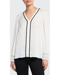 Elie Tahari Kinsley Silk Shirt - White