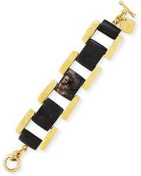 Ashley Pittman - Muziki Dark Horn & Bronze Rectangular Link Bracelet - Lyst