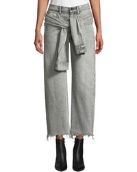 T By Alexander Wang - Stack Tie-front Wide-leg Cropped Jeans - Lyst