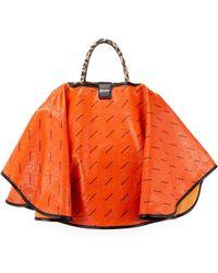 Balenciaga - Ville Loopard-print Leather Satchel Bag W/cape - Lyst