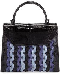 Nancy Gonzalez - Lily Medium Woven Straw/crocodile Top-handle Bag - Lyst