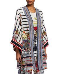 Camilla Printed Silk Kimono With Belt - Multicolor