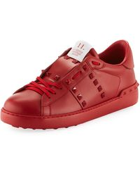 Valentino Rockstud Untitled Men's Leather Low-top Sneakers - Red