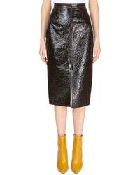 Roland Mouret - Patent Foil Leather Front-slit Pencil Skirt - Lyst