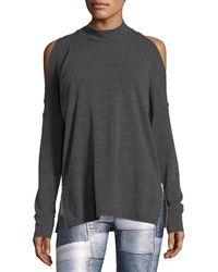 Terez - Mock-neck Cold-shoulder Side-zip Pullover Top - Lyst