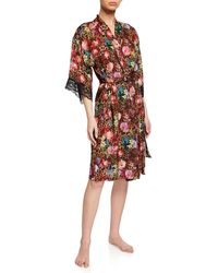 Lise Charmel Corolle Fauve Lace-trim Robe - Red