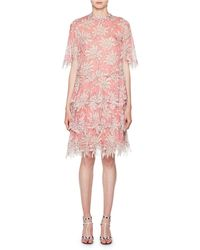 Valentino - Scalloped Rhododendron Chiffon Dress - Lyst