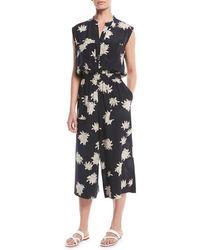 Vince - Silk Chrysanthemum Sleeveless Cropped Jumpsuit - Lyst