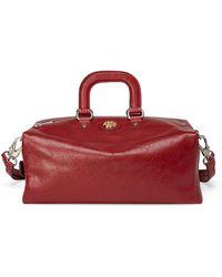 Gucci Men's Runway Soft Leather Weekender Bag W/ Backpack Straps - Red