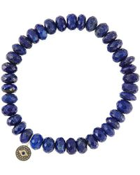 Sydney Evan | 8mm Faceted Lapis Beaded Bracelet With 14k Gold/diamond Round Evil Eye Charm (made To Order) | Lyst