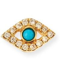 Sydney Evan - Small Turquoise Cabochon & Diamond Evil Eye Single Earring - Lyst