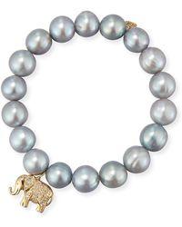 Sydney Evan - Gray Potato Pearl Beaded Bracelet With Diamond Elephant Charm - Lyst