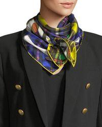 Versace - Tartan Plaid Patchwork Silk Scarf - Lyst