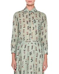 Marni - Long-sleeve Button-front Vine-print Woven Blouse - Lyst