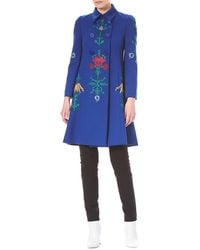 Carolina Herrera - Floral-embroidered Double-breasted Wool Coat - Lyst