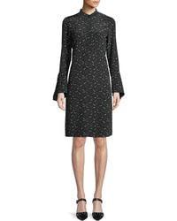 Lafayette 148 New York - Salem Bell-sleeve A-line Bird-print Silk Dress - Lyst