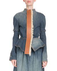 Loewe - Denim Puff-sleeve Jacket With Leather Placket - Lyst