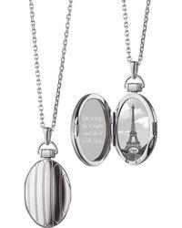 "Monica Rich Kosann - 1"" Pinstriped Silver Oval Locket Necklace - Lyst"