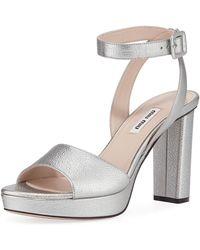 1094337cbb9 Lyst - Miu Miu Embellished Suede Block-heel Platform Sandals in Black