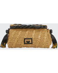 Givenchy Woven Raffia Logo Zip Clutch Bag - Black