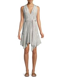 Halston - Floral-print V-neck Dress With Sash - Lyst