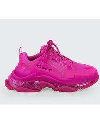 Balenciaga - Triple S Neon Trainer Sneakers - Lyst