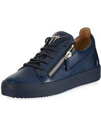 Giuseppe Zanotti - Men's London Double-zip Leather Low-top Trainer - Lyst