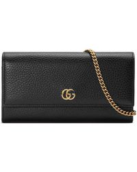 Gucci - Petite GG Marmont Leather Flap Wallet On A Chain - Lyst