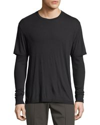 Vince - Double-layer Long-sleeve Knit T-shirt - Lyst