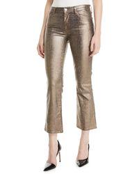 J Brand Selena Mid-rise Boot-cut Metallic Animal-print Jeans - Multicolour