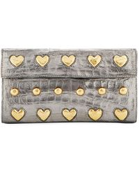Nancy Gonzalez - Crocodile Heart Studs Flap Clutch Bag - Lyst