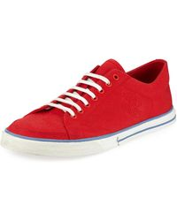 Balenciaga Men's Match Canvas Low-top Sneakers - Red