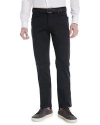 Ermenegildo Zegna Cotton Canvas Chino Trousers - Blue