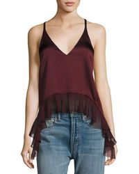 Elizabeth and James - Manette Satin Ruffled Tank Blouse - Lyst