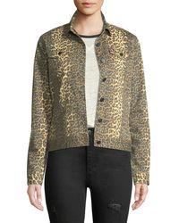 ATM - Leopard-print Button-front Denim Jacket - Lyst